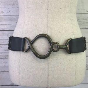 Suzi Roher OS brown belt stretch hook closure